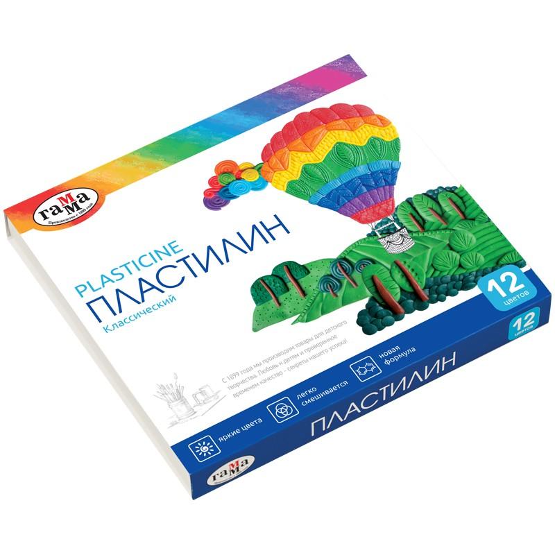 Пластилин Гамма Классический, 12 цветов, 240г, со стеком, картон