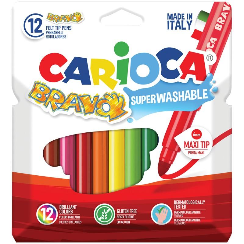 Фломастеры Carioca Bravo, 12цв., утолщенные, смываемые, картон, европодвес