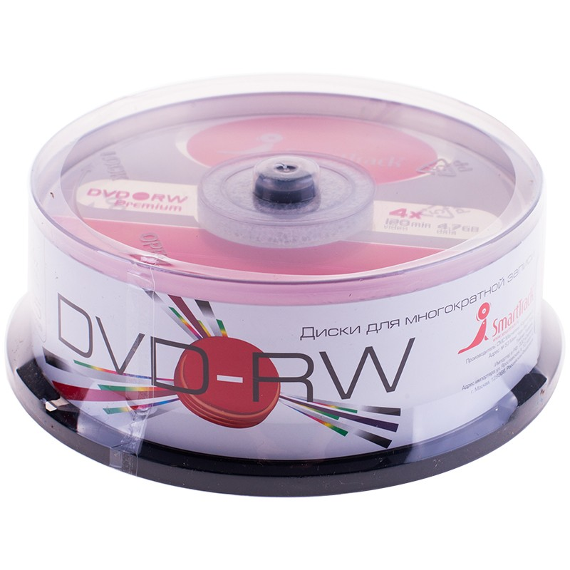 Диск DVD-RW 4.7Gb Smart Track 4x Cake Box (25шт)