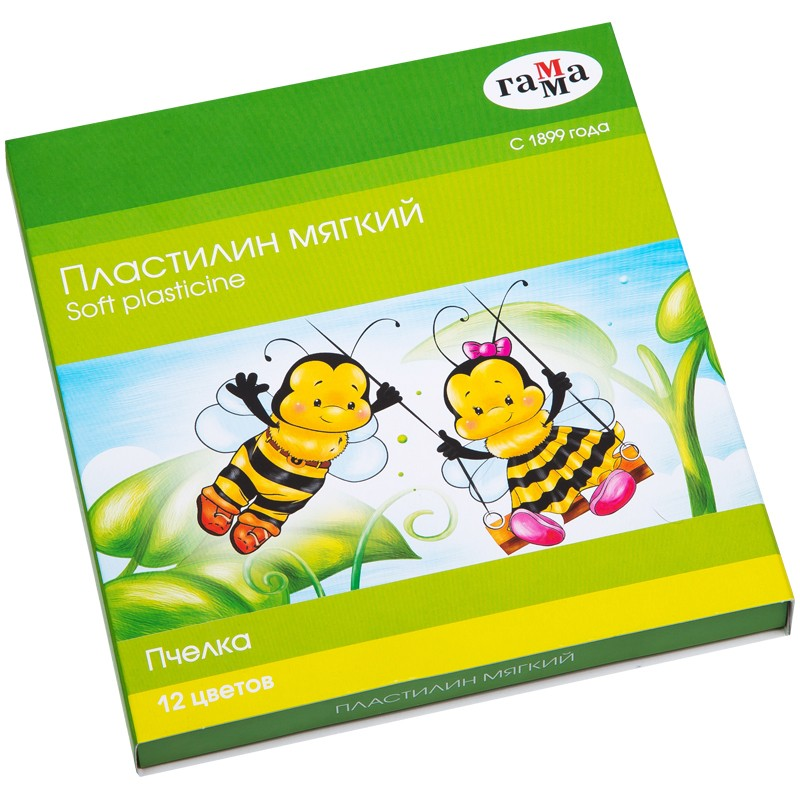 Пластилин 12цв воскстек Пчелка 280032Н Гамма