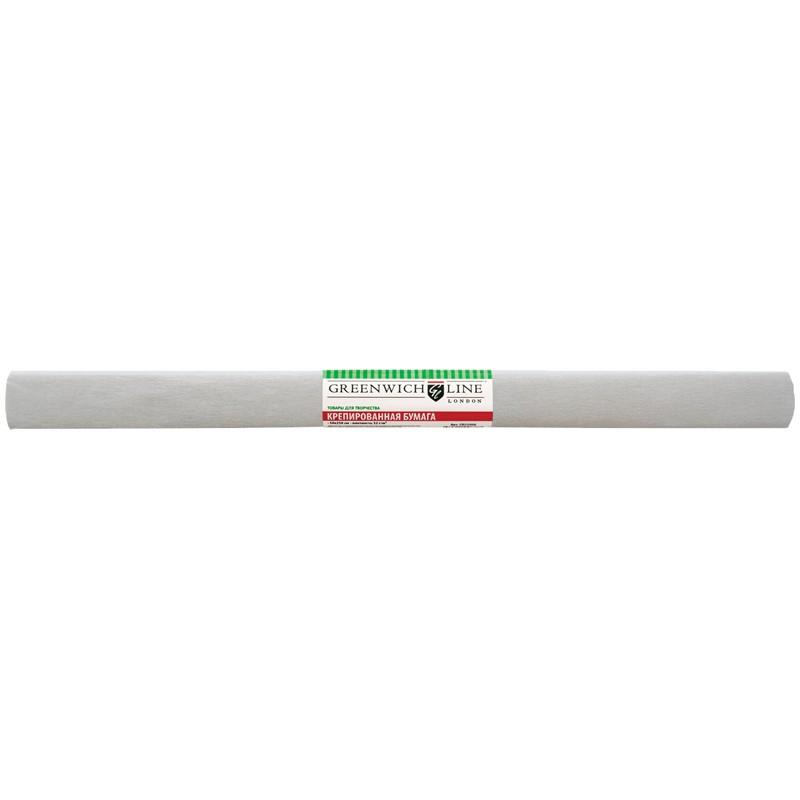 Бумага крепированная Greenwich Line, 50*250см, 32г/м2, серая, в рулоне