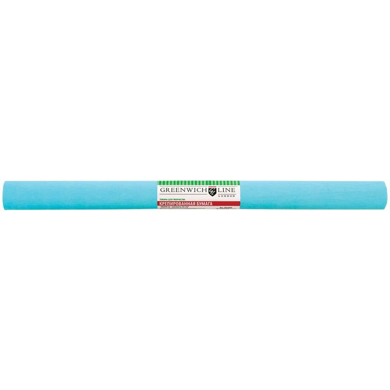 Бумага крепированная Greenwich Line, 50*250см, 32г/м2, бирюзовая, в рулоне