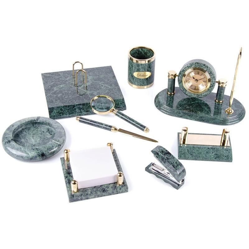 Набор настольный Delucci 9 предметов, зеленый мрамор