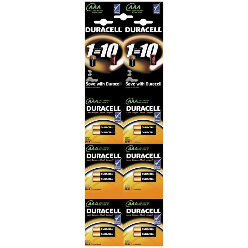 Батарейка Duracell Basic AAA (LR03) алкалиновая, 2BL, отрывной набор