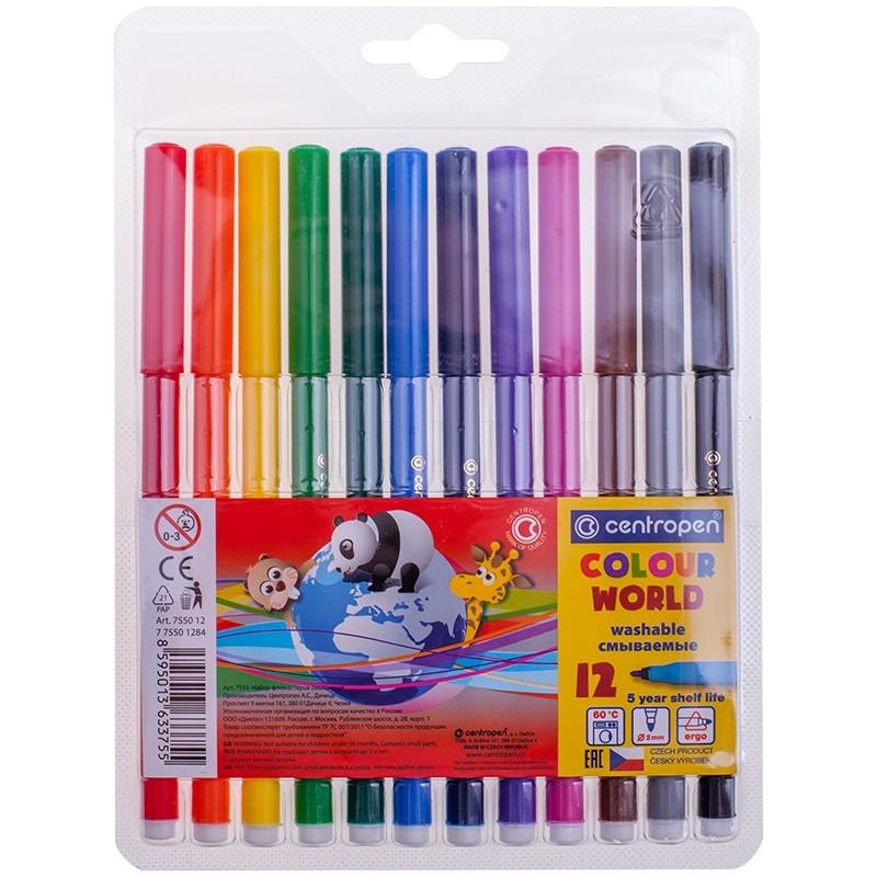 Фломастеры Centropen Colour World, 12цв., трехгранные, смываемые, блистер