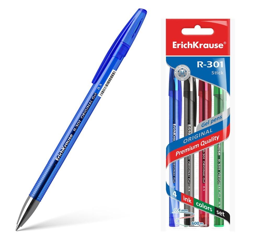 ErichKrause® Набор гелевых ручек Original Gel R-301 4шт цвета в ассорт (в пакете) арт.45157