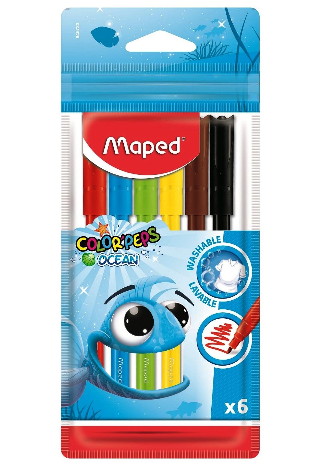 Maped. Фломастеры Color'Peps Ocean супер смываемые  в пакете с подвесом (6 цв) арт.845723